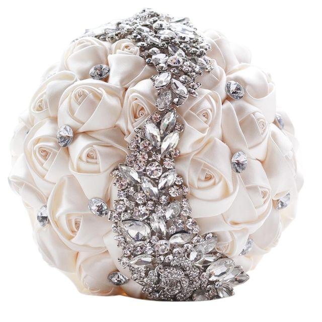 Mariage Tenant Des Fleurs Bouquet Blanc De Mariee Accessoires Demoiselle D Honneur Strass Partie Decoration De Fournitures