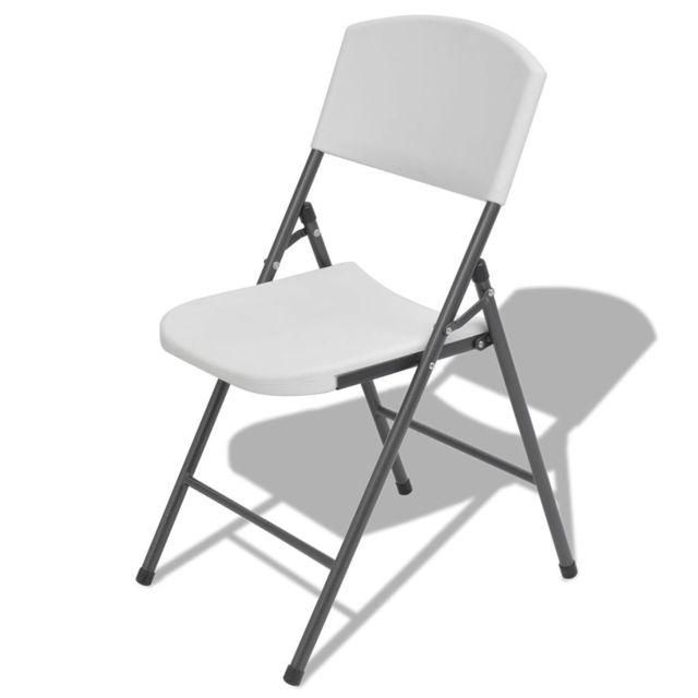 Chaises de jardin à l'extérieur Admirable pliantes 4 pcs PE HD Blanc