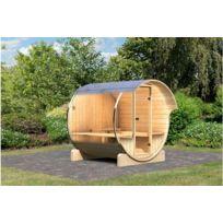Karibu   Sauna Vapeur Extérieur Baril 1 Avec Poêle 9kW
