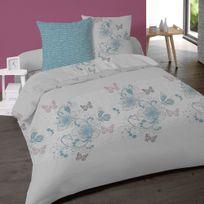 Dourev - Housse de couette Floral en flanelle 220x240cm + 2 taies