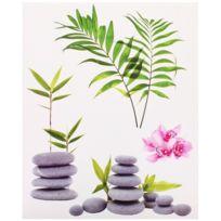 Promobo - Planche Lot 4 Stickers Deco Zen Colonne Galets Gris Branche Bambou Nature
