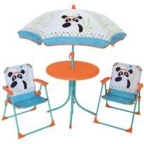 Set De Jardin Panda 4 Pièces 2 Chaise Table Et Parasol