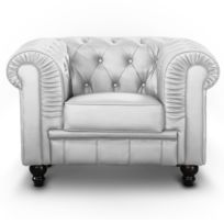 MENZZO - Fauteuil Chesterfield Argent