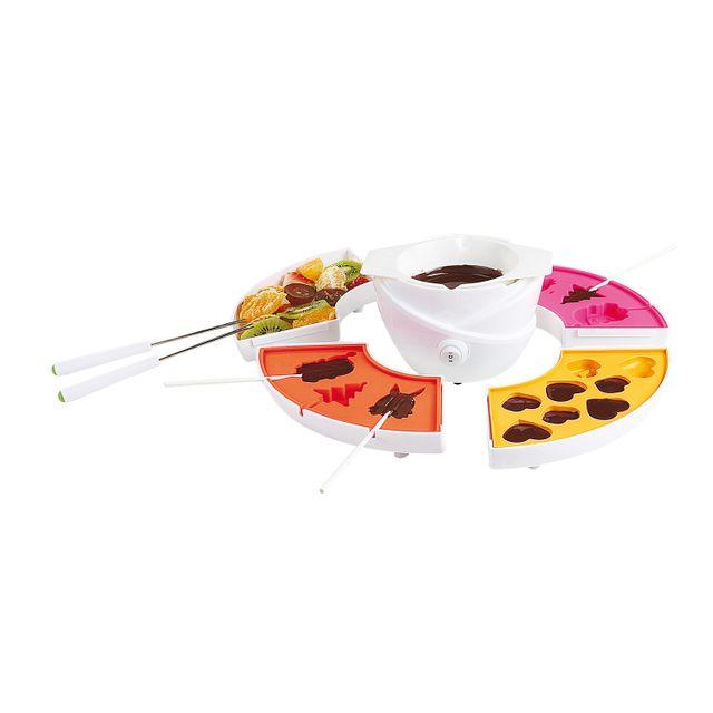 Domoclip Set fondue à chocolat 3 en 1 - 4 moules amovibles + 24 bâtonnets à sucettes + 4 piques