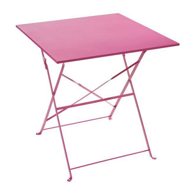 CARREFOUR - Table pliante - Métal - Rose - pas cher Achat ...