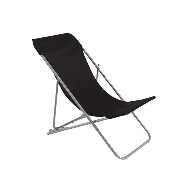 HESPERIDE - Chaise longue chilienne pliante Setubal Noir
