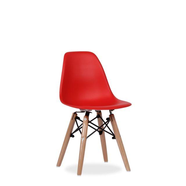 sans marque chaise design style scandinave pied boismtal pour enfant rouge - Chaise Scandinave Pied Metal