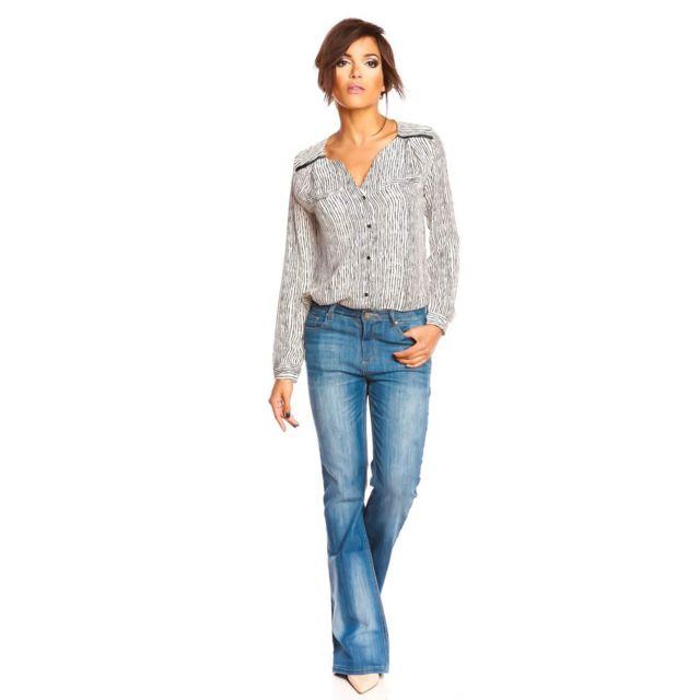 Femme Doucel Couleur Chemisier Imprimé Pas Blanc Taille 38 4OUXwqxOFn