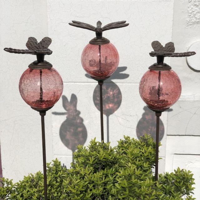 L'ORIGINALE Deco 3 Pics Tige Tuteurs Porte Plante de Jardin Rose Libellule Marron 117 cm