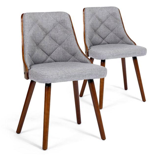 menzzo lot de 2 chaises scandinaves lalix bois noisette et tissu gris pas cher achat vente. Black Bedroom Furniture Sets. Home Design Ideas
