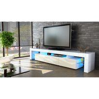 nouveau style fe605 41233 Meuble tv blanc et crème 189 cm avec led