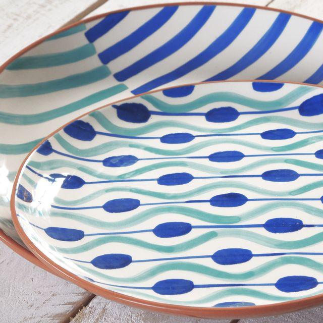 Bruno Evrard - Plat rond plat en céramique motifs rayures 38cm - Céramique - Bleu foncé, Bleu ciel