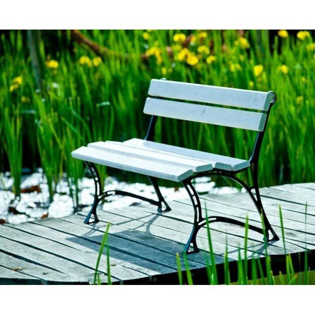 Garden Banc de jardin blanc en bois et aluminium 150cm