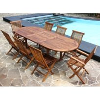Bois Dessus Bois Dessous - Salon de jardin teck en bois de teck huilé 8/10 pers Table larg 100cm 6 chaises 2 fauteuils