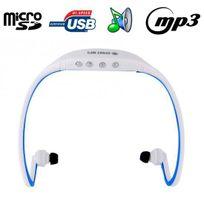 Yonis - Casque sport sans fil lecteur Mp3 audio Micro Sd Running vélo Bleu