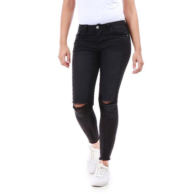 7a2c45c688a3 Lamodeuse - Jeans noir déchiré genoux et cheville - pas cher Achat ...