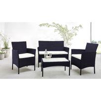 Salon de Jardin Madeira 4 places en résine tressée + table basse noir blanc