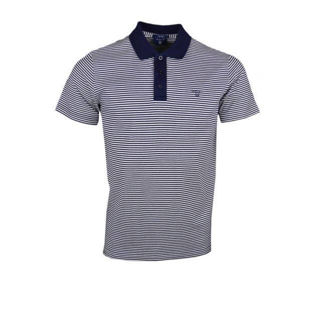 Gant - Polo rayé bleu marine et blanc pour homme - pas cher Achat   Vente Polo  homme - RueDuCommerce 8559dedd660
