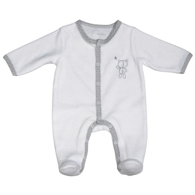 Sauthon - Pyjama bébé blanc ours naissance Céleste - pas cher Achat   Vente  Pyjamas c2e81f192e2