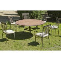 """Hevea Jardin - Hevea - Table de jardin """"Belice/Vigo"""" 140 cm + 6 fauteuils avec coussins écrus"""