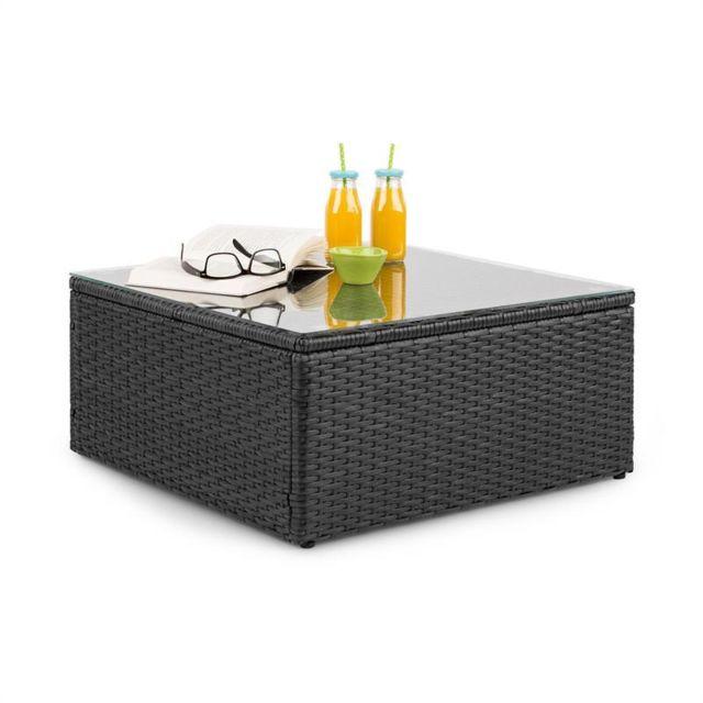 BLUMFELDT Theia Table de salon de jardin en polyrotin plateau en verre - Noir