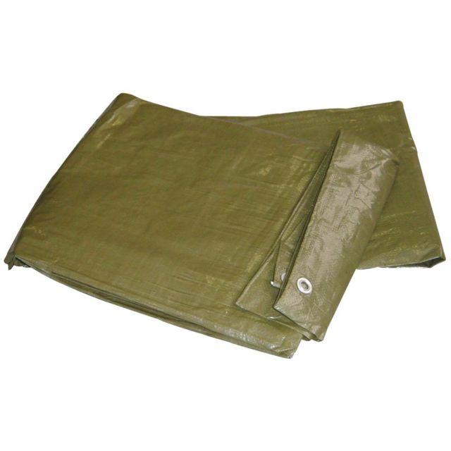 Brixo Bâche de protection Pe à œillets légère 2 x 3 m verte anti-déchirures