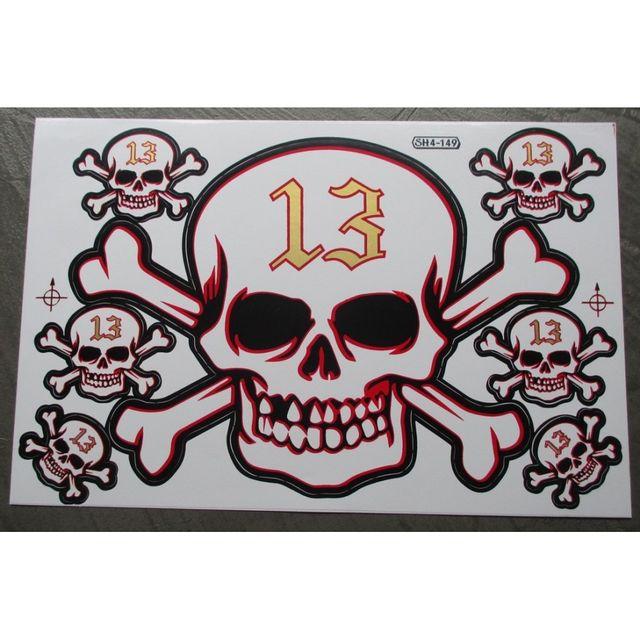 Universel Planche de stickers crane 13 doré autocollant pirate biker