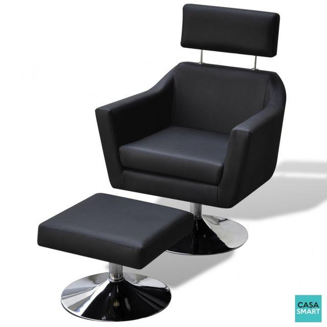 Casasmart Fauteuil Logg en simili cuir noir avec repose pied