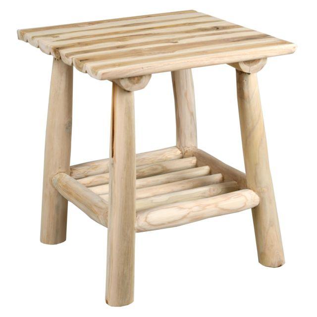 AUBRY GASPARD Table basse carrée en teck naturel Arthur