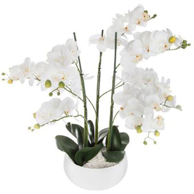 Pegane Plante artificielle en ciment, pierre et polyéthylène coloris blanc - Dim : D.25 x H.65 cm