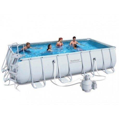 bestway piscine tubulaire rectangulaire power steel frame l 488 x l 244 x h 122 cm pas. Black Bedroom Furniture Sets. Home Design Ideas
