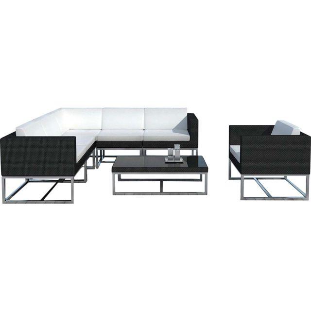 DELORM - Salon de jardin design 7 éléments en résine noire coussins ...