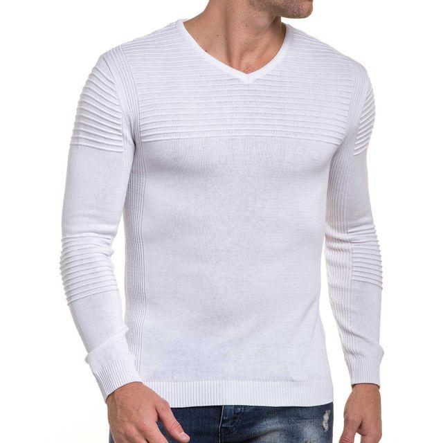 moulant BLZ Pull fine Jeans nervuré maille XL blanc cher pas RwwC1xtqra