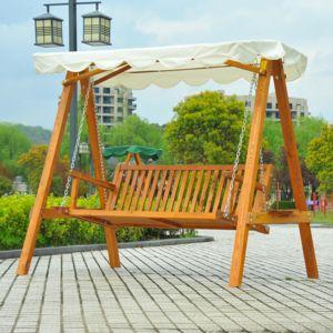 Homcom balancelle balancoire hamac banc fauteuil de for Balancoire de jardin en bois