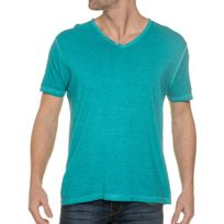 Mzgz - Tee Shirt Bleu Turquoise Aspect Usé