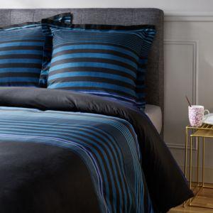 TEX HOME - Parure RAYURE CONNECTEE Housse de couette + 2 taies d'oreiller en percale Bleu moyen