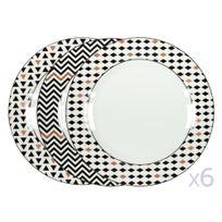 Kaligrafik - Assiettes plates en porcelaine motifs scandinave noir / cuivre - Lot de 6 pièces Sisko