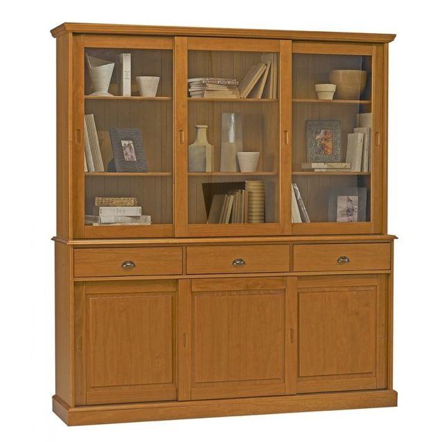 beaux meubles pas chers buffet vaisselier biblioth que pin miel 6 portes coulissantes marron. Black Bedroom Furniture Sets. Home Design Ideas