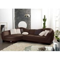 LINEA SOFA - Canapé d'angle cuir de buffle 5 places CAPRI II - Chocolat - Angle gauche