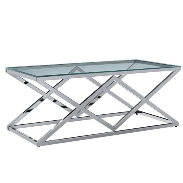 Vidaxl Table Basse 120x60x45 cm Verre Trempé et Acier Inoxydable Salon Maison