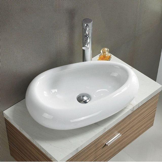 vasque galet Rue Du Bain - Vasque à Poser Ovale Galet - Céramique - 55x38 cm - Origin -  pas cher Achat - Vente Vasque - RueDuCommerce
