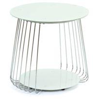 ba4010c96f519 COMFORIUM - Table basse design ø 50 cm en verre coloris blanc avec des  tiges en