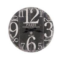 J-line - Horloge Paris Bois Noir / Blanc 60 cm