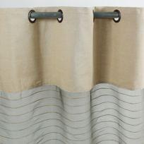 MonbeauRideau - Voilage Shamlyne Soie coton et jute 110x250cm, taupe