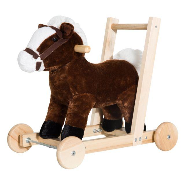 HOMCOM - Pousseur porteur chariot de marche cheval fonction musicale 32  pistes marron beige 179e9462ff5