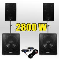 Ibiza - Pack 151512 Sono Dj 2800W Caissons bi-amplifié