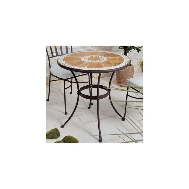 Proloisirs - Table de jardin ronde en Acier / Pierre D76cm - pas ...