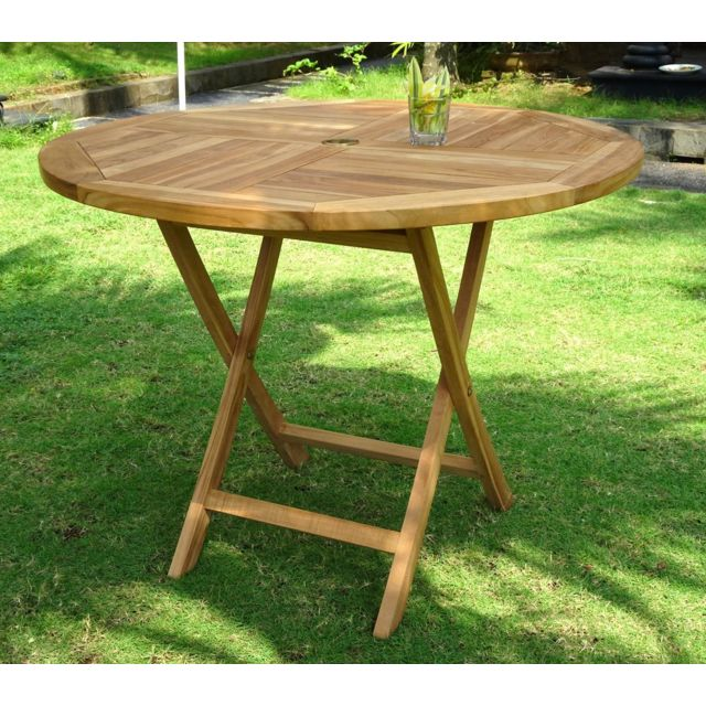 Wood En Stock - Table de jardin pliante en teck brut - diametre 100 ...