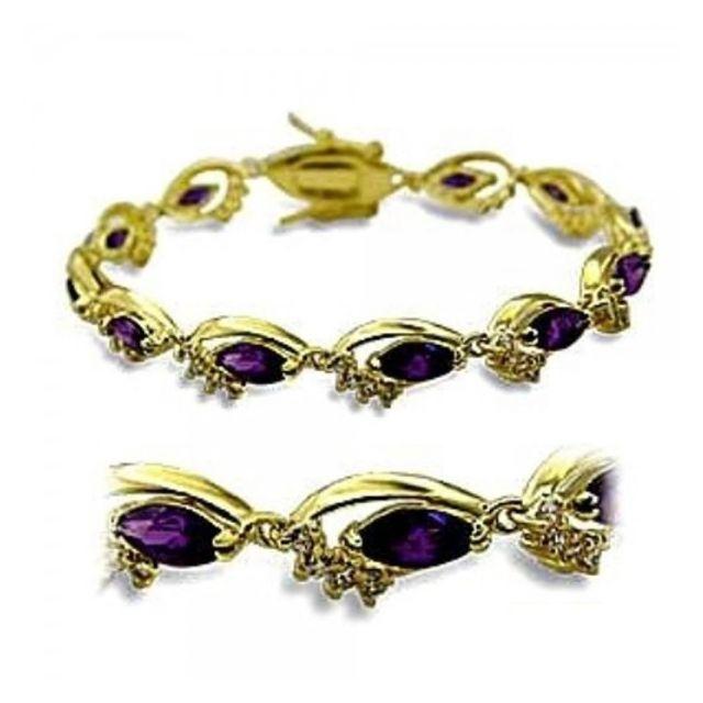 02f15d46c7857 BestOfBijoux® - Jihann Améthyste - Tennis Bracelet - Bracelet Femme -  Argent 925 - Plaqué Or - Oxyde de Zirconium 18cm/7inch