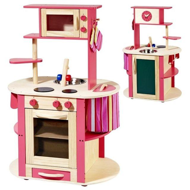 Marque Generique - Cuisine en bois avec poubelle four micro-ondes et accessoires jeu d'imitation enfant Delicates Cookies | Fuchsia